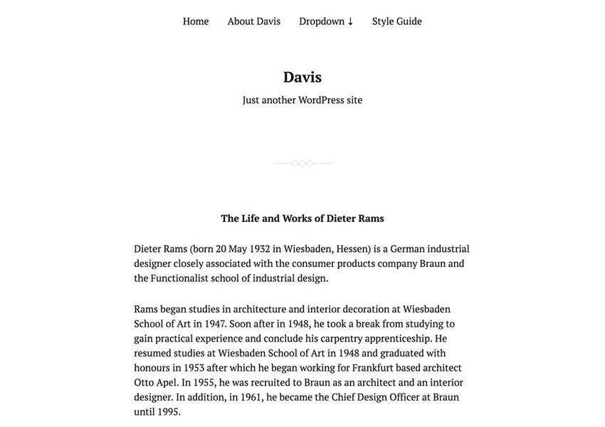 davis starter free theme وردپرس wp وبلاگ پاسخگو طراحی حداقل وزن سبک حداقل