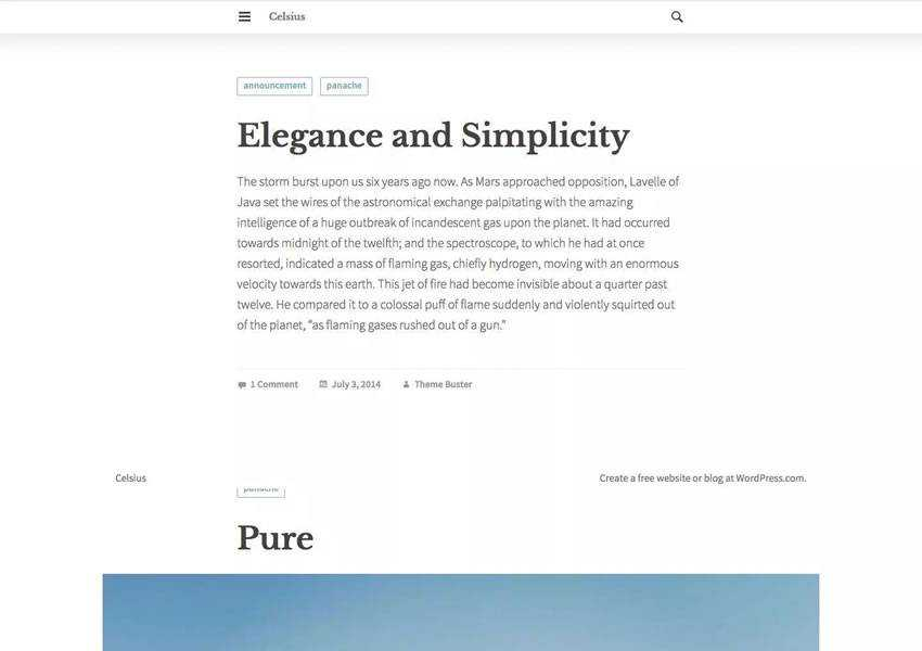 Celsius free wordpress theme wp responsive blog minimal design minimalist lightweight