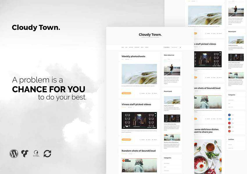 Cloudy Town blog wordpress theme blog minimal design clean