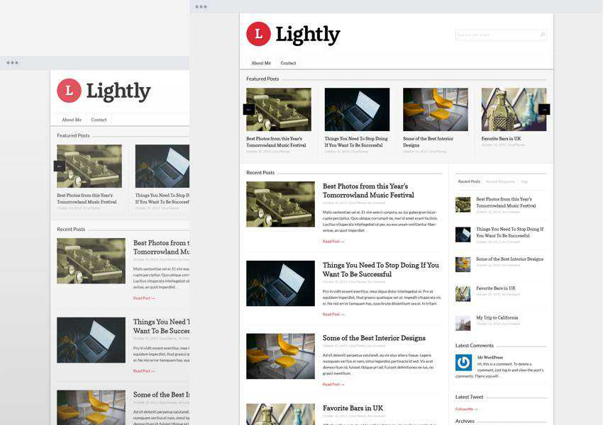 Lightly free wordpress theme wp responsive blog minimal design minimalist lightweight