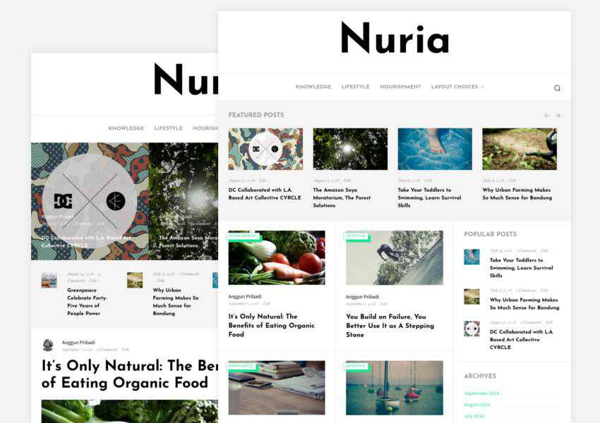 Nuria blogging free wordpress theme wp responsive blog minimal design minimalist lightweight