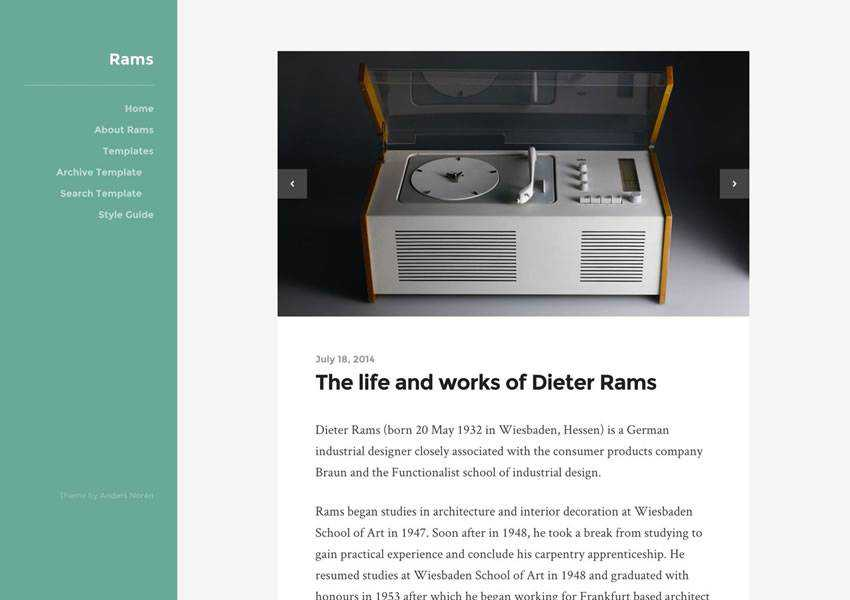 rams free wordpress theme wp responsive blog minimal design minimalist lightweight