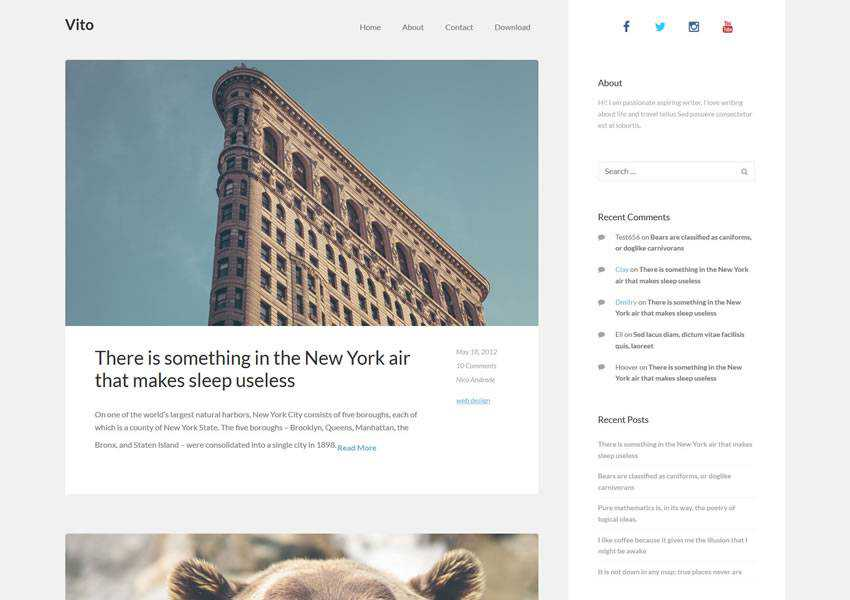 vito clean free wordpress theme wp responsive blog minimal design minimalist lightweight