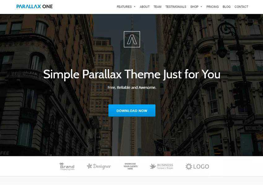 Parallax One business free wordpress theme wp responsive one-page single page scroll