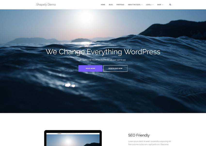 Shapely free wordpress theme wp responsive one-page single page scroll
