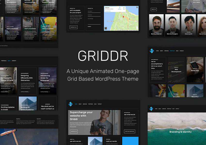 Griddr Animated Grid Creative wordpress theme one-page single page scroll