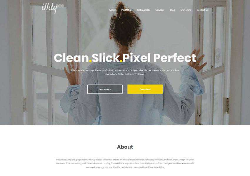 Illdy free wordpress theme wp responsive one-page single page scroll