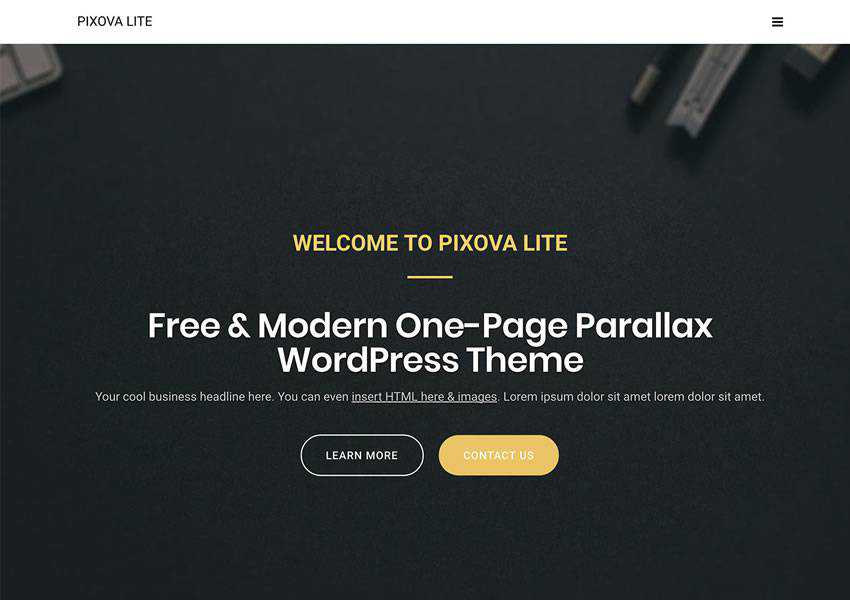 Pixova Lite Customizable free wordpress theme wp responsive one-page single page scroll