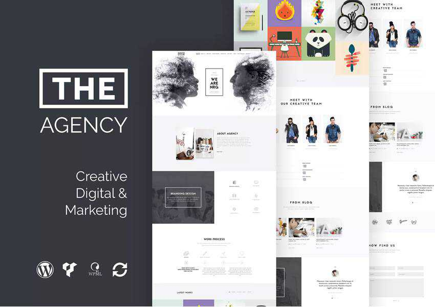 The Agency Creative agency wordpress theme one-page single page scroll