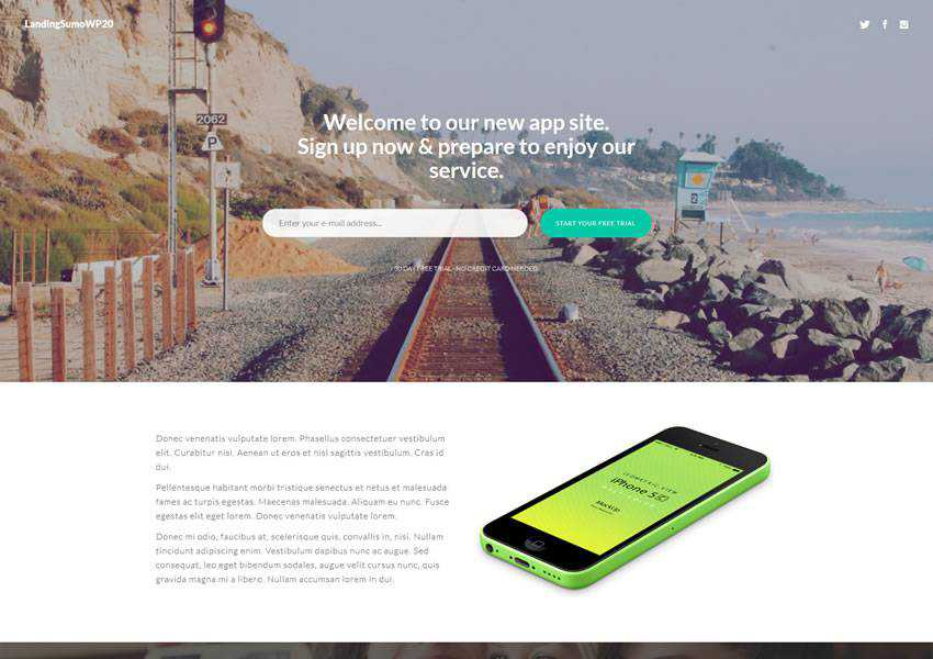 LandingSumoWP20 landing free wordpress theme wp responsive one-page single page scroll