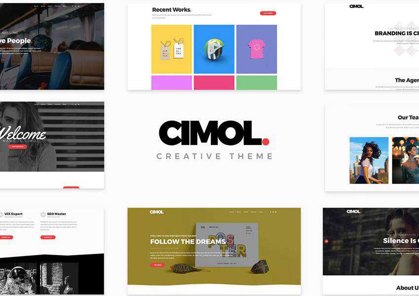 Cimol portfolio wordpress theme one-page single page scroll