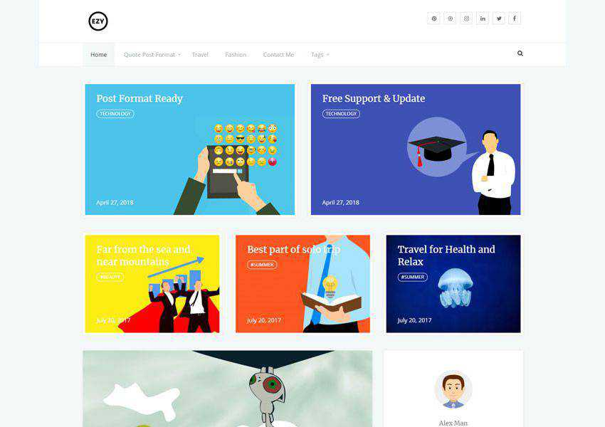 ezy free wordpress theme wp responsive personal blog blogger blogging