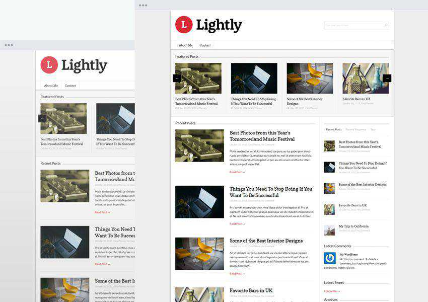 Lightly free wordpress theme wp responsive personal blog blogger blogging