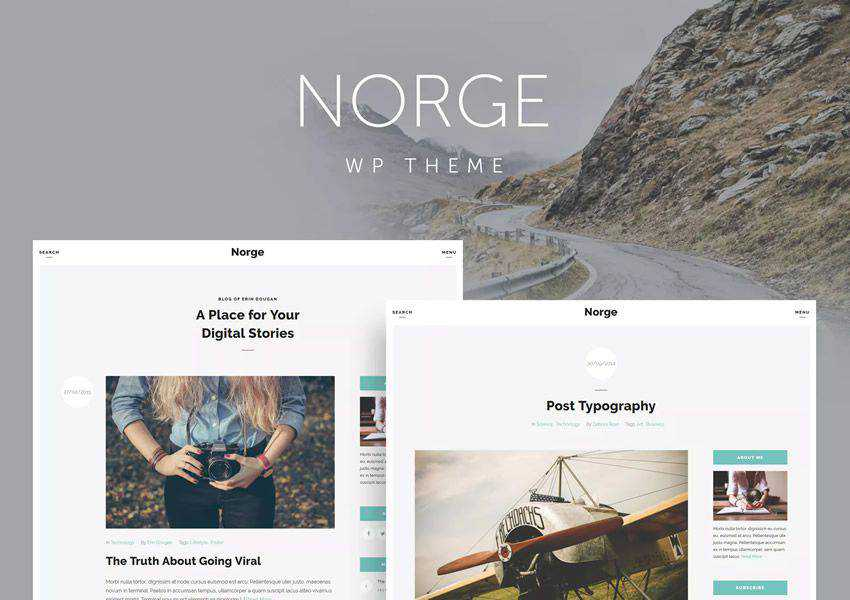 Norge wordpress theme personal blog blogger blogging