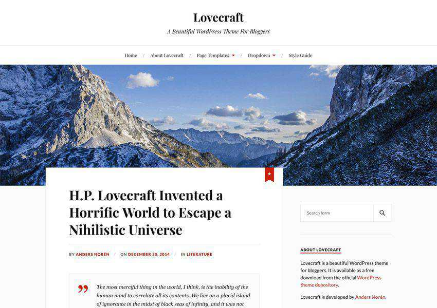 Lovecraft free wordpress theme wp responsive personal blog blogger blogging
