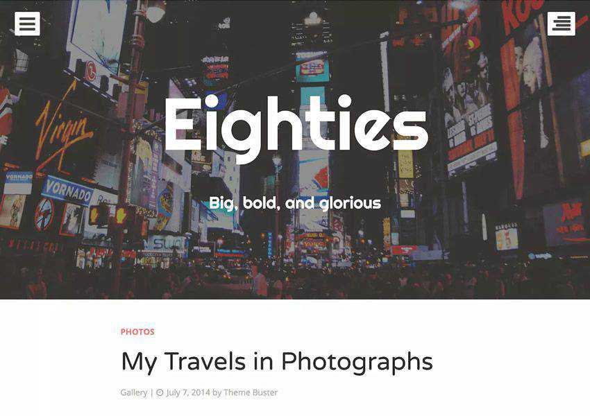 Eighties One-Column free wordpress theme wp responsive personal blog blogger blogging