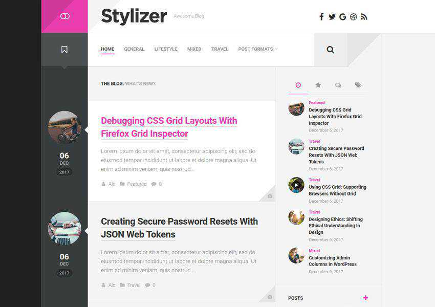 Stylizer free wordpress theme wp responsive personal blog blogger blogging