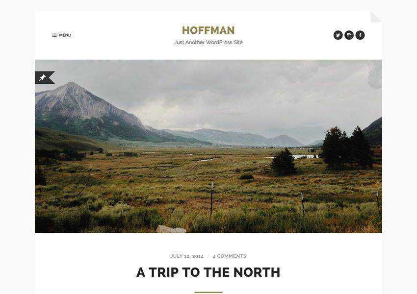 Hoffman Minimal free wordpress theme wp responsive personal blog blogger blogging