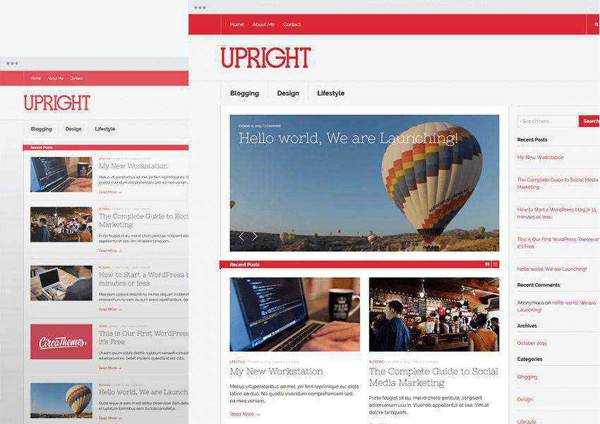 Upright free wordpress theme wp responsive personal blog blogger blogging