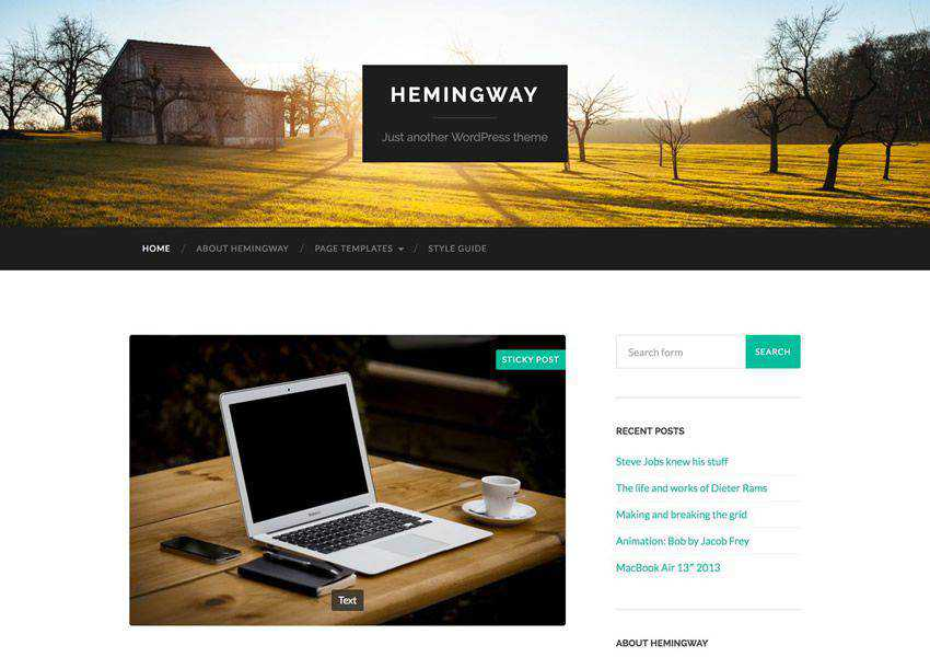 Hemingway Two-Column free wordpress theme wp responsive personal blog blogger blogging