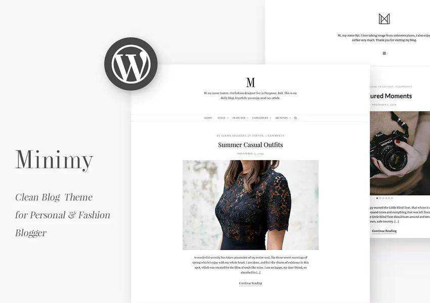 Minimy fashion clean wordpress theme personal blog blogger blogging