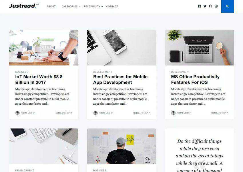 Justread Minimal free wordpress theme wp responsive personal blog blogger blogging