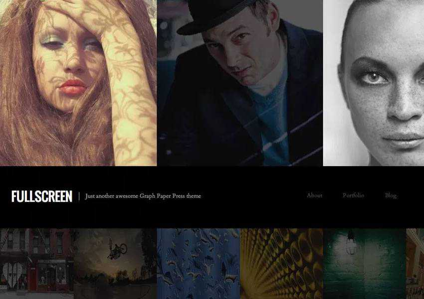 Fullscreen One-Column free wordpress theme wp responsive photographer portfolio camera