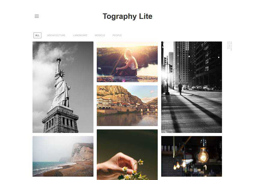 Tography Lite free wordpress theme wp responsive photographer portfolio camera