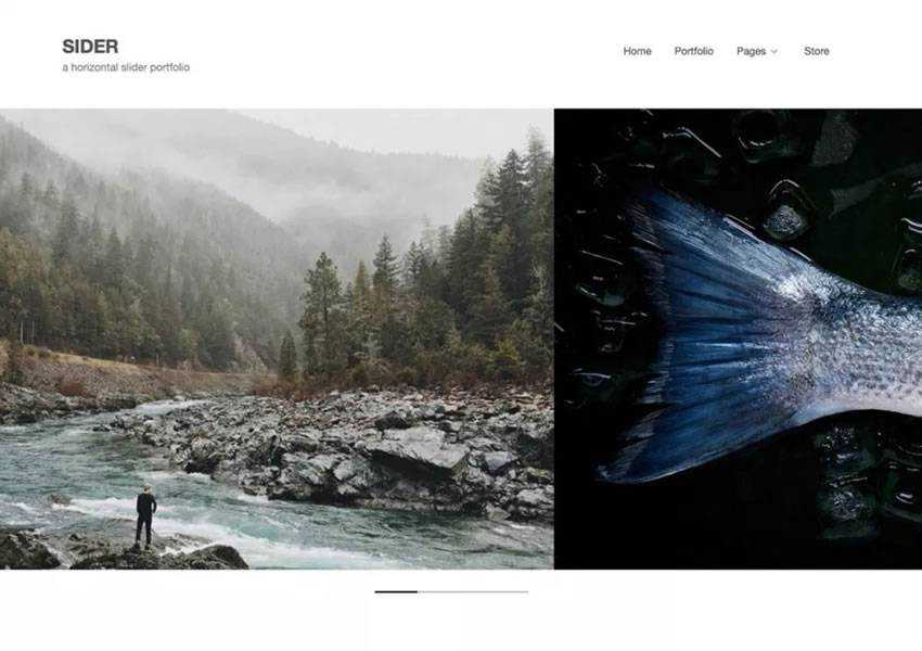 Sider Horizontal Scrolling free wordpress theme wp responsive photographer portfolio camera