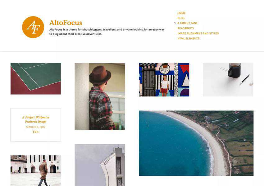 AltoFocus Photoblogger free wordpress theme wp responsive photographer portfolio camera