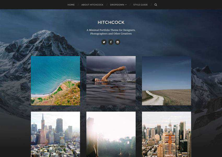Hitchcock Portfolio Designer free wordpress theme wp responsive photographer portfolio camera