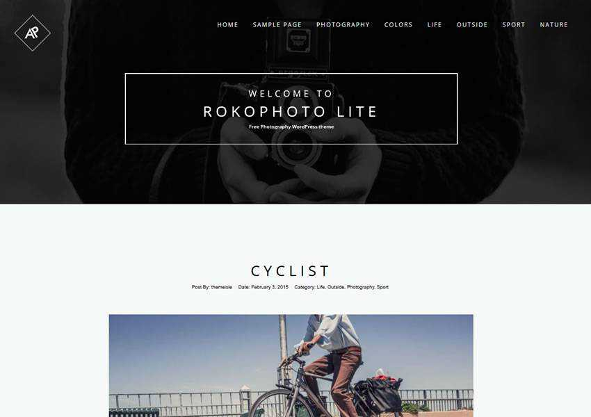 Rokophoto free wordpress theme wp responsive photographer portfolio camera