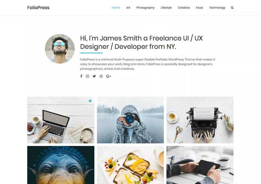 FolioPress free wordpress theme wp responsive creative designer agency portfolio camera