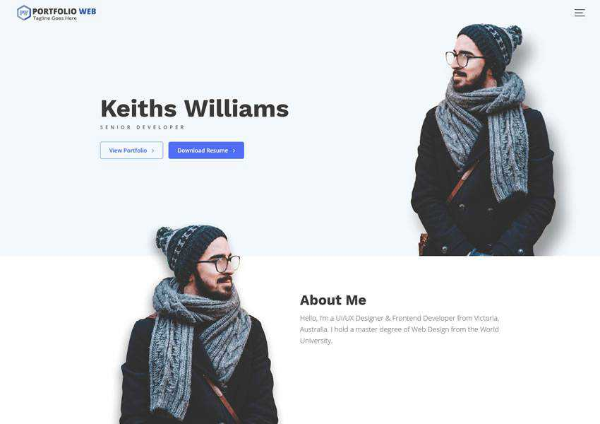 Portfolio Web Multipurpose Biography free wordpress theme wp responsive creative designer agency portfolio camera