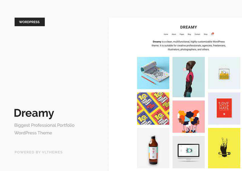 Dreamy wordpress theme creative designer agency portfolio camera