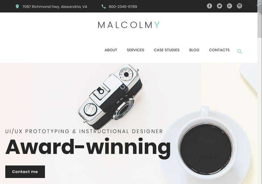 MalcomY Freelance Designer free wordpress theme wp responsive creative designer agency portfolio camera