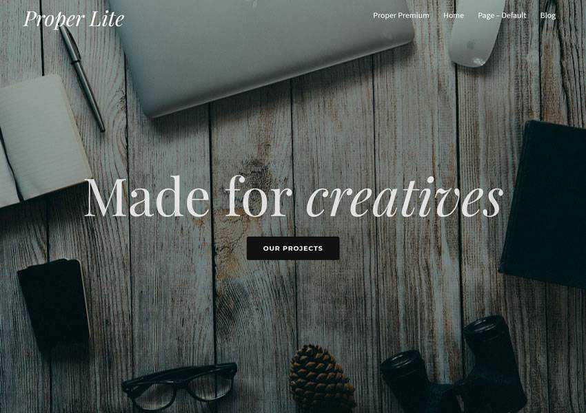 Proper Lite free wordpress theme wp responsive creative designer agency portfolio camera