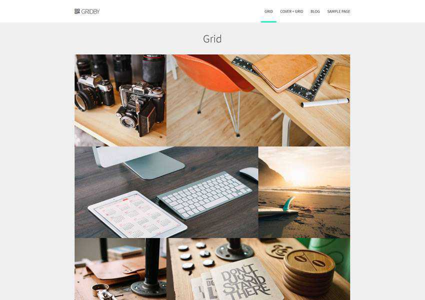 Gridby Parallax Grid free wordpress theme wp responsive creative designer agency portfolio camera
