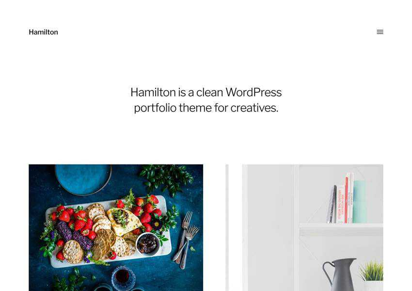 Hamilton free wordpress theme wp responsive creative designer agency portfolio camera