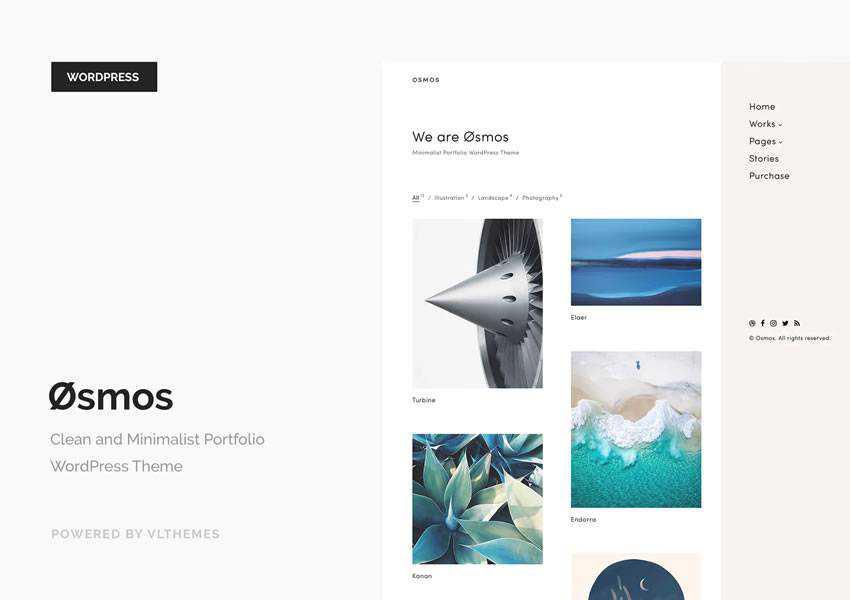 Osmos wordpress theme creative designer agency portfolio camera