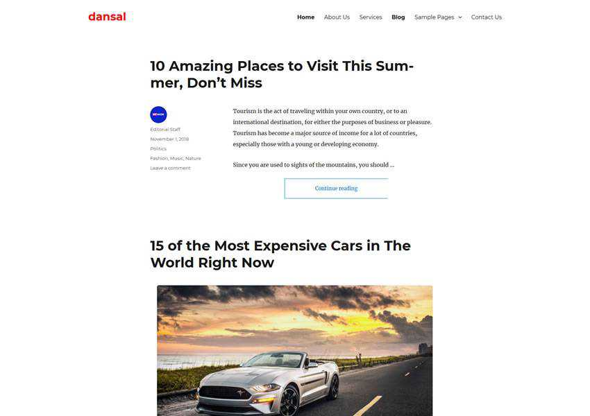 Dansal Twenty Sixteen Child free wordpress theme wp responsive template blog writer longform article