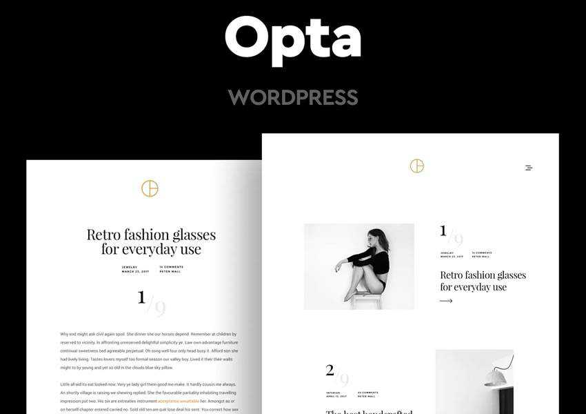 Opta Minimal wordpress theme template blog writer longform article