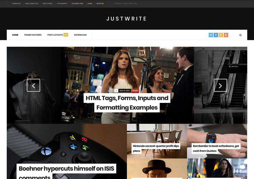 JustWrite free wordpress theme wp responsive template blog writer longform article