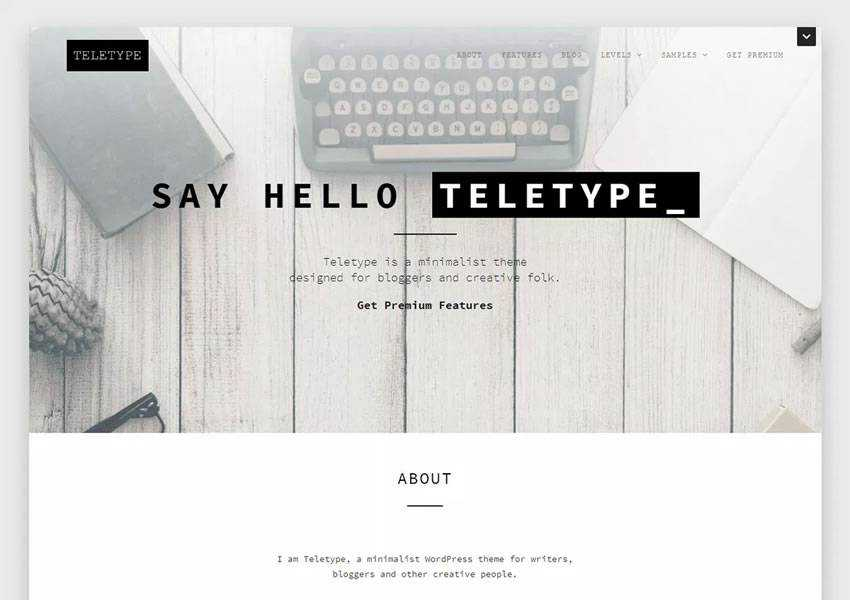 Teletype Minimalist free wordpress theme wp responsive template blog writer longform article