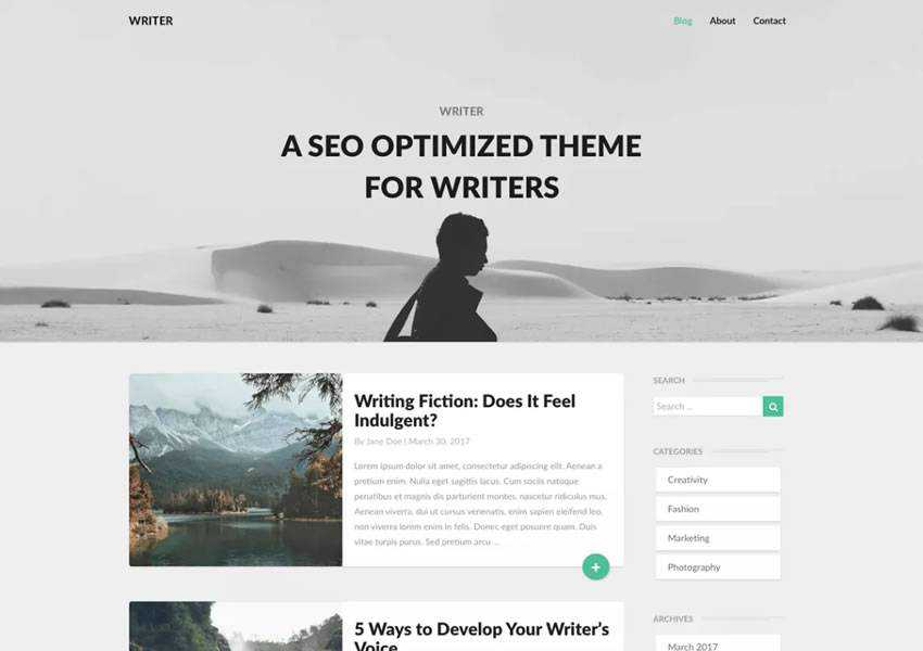 Writers Minimalistic Modern free wordpress theme wp responsive template blog writer longform article