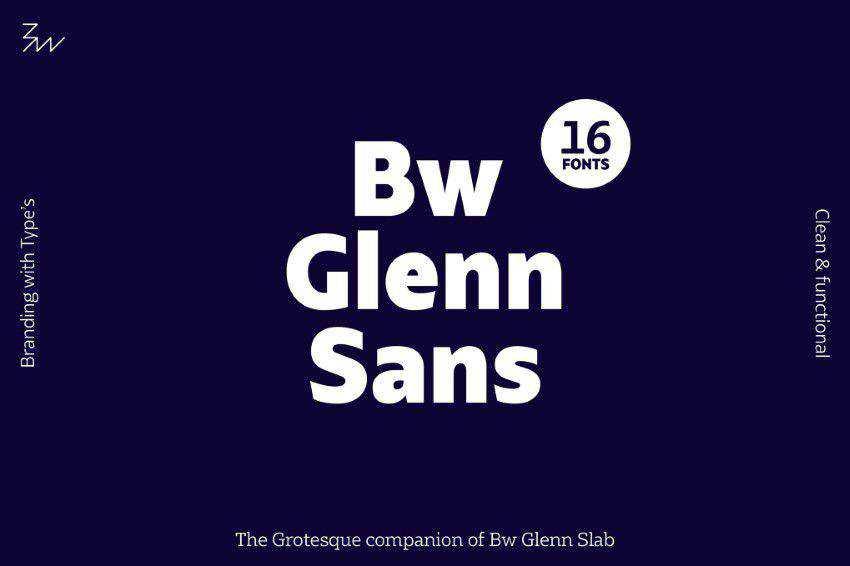 Bw Glenn Sans title headline font