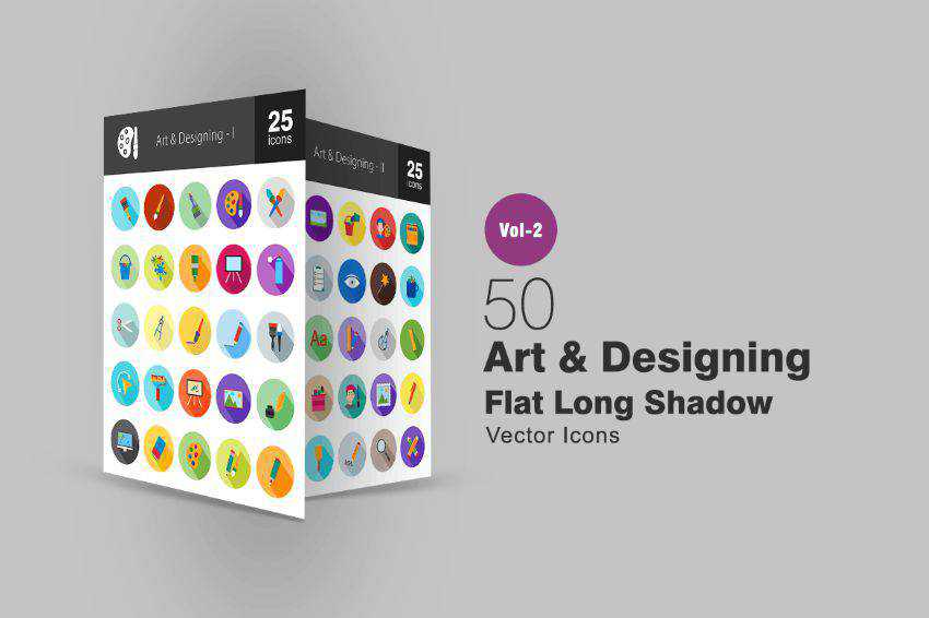 50 Art & Designing Flat Long Shadow Icons