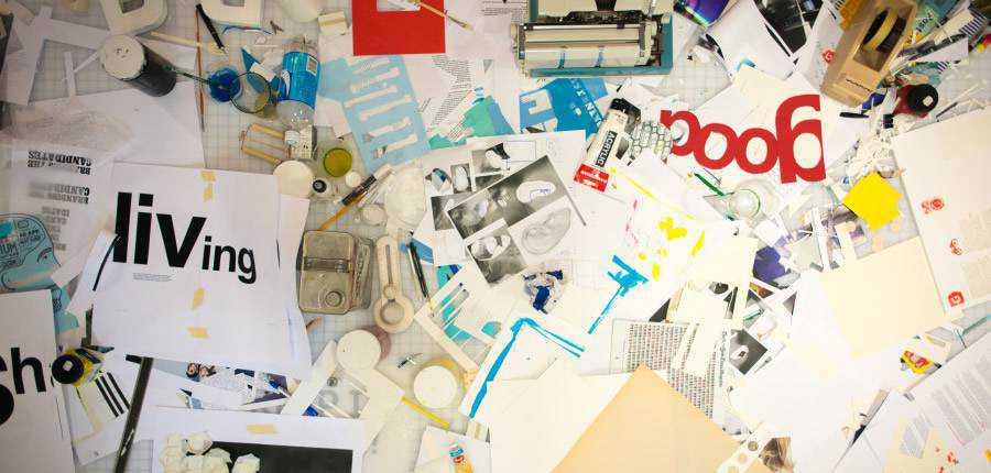 messy design desk