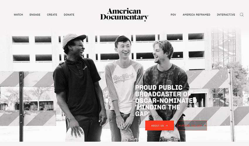 American Documentary Inc non-profit charity website web design inspiration ui ux