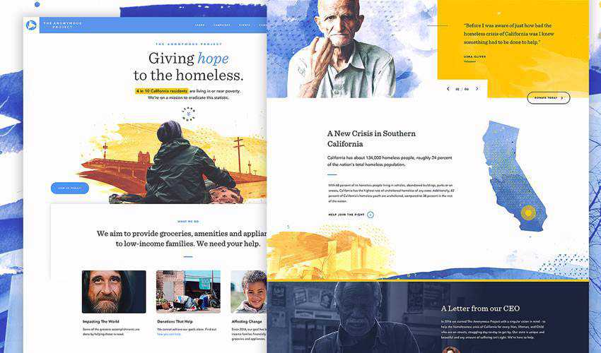 Anonymous Project non-profit charity website web design inspiration ui ux